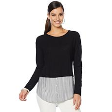 Vince Camuto Stripe Hem Mixed Media Top