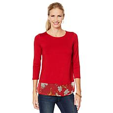 Vince Camuto Wildflower Mixed-Media Top