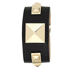 Vince Camuto Women's Goldtone Pyramid Stud Black Leather Bangle Watch