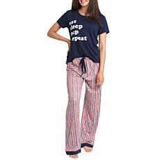 Wallflower Verbiage Tee and Pant Sleepwear Set