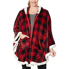 Warm  & Cozy Hooded Zip-Front Angel Wrap with Sherpa Trim