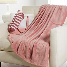 Warm & Cozy Throw & Sock Set with Tote