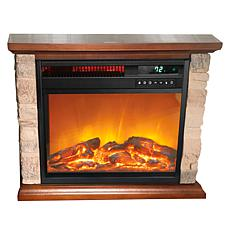 Warm Living Rustic Infrared Fireplace Heater