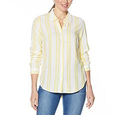WE by Living in Yellow Button Down Striped Shirt