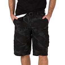 WearFirst Men's Battle Camo Printed Cotton Nylon Belted Cargo Short