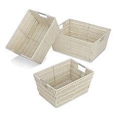 Whitmor 65001959LATTE Set of 3 Rattique Storage Baskets - Java