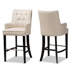 Wholesale Interiors Aldon Fabric Upholstered 2-Piece Bar Stool Set