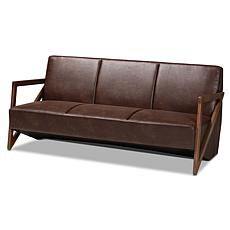 Wholesale Interiors Christa Brown Faux Leather and Walnut Finish Sofa