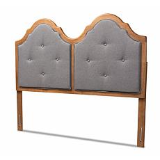Wholesale Interiors Falk Grey Fabric & Walnut Finished Queen Size Arch