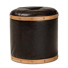 Wholesale Interiors Farrow Faux Leather and Oak Finished Wood Ottoman