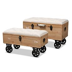 Wholesale Interiors Finlay Upholstered 2Pc Wheeled Storage Ottoman Set