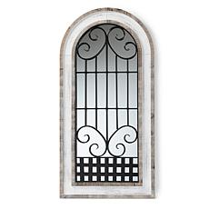 Wholesale Interiors Gael White Wood and Black Metal Arched Wall Mirror