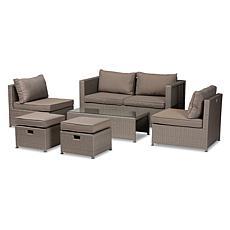Wholesale Interiors Haina Grey Fabric and Faux Rattan 6Pc Patio Set