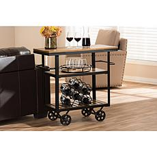 Wholesale Interiors Kennedy Serving Cart - Black Metal/Distressed Wood
