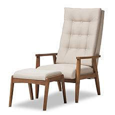 Wholesale Interiors Roxy Upholstered Lounge Chair and Ottoman - Walnut