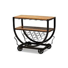 Wholesale Interiors Triesta Metal And Wood Wheeled Wine Cart