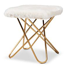 Wholesale Interiors Valle Faux Fur Upholstered Ottoman