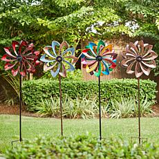 Wind and Weather Solar LED Metal Flower Wind Spinner