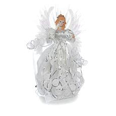 "Winter Lane 19"" White LED Angel Tree Topper"