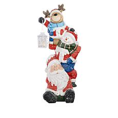 """Winter Lane 26"""" Illuminated Stacked Holiday Figures with 6-Hour Timer"""