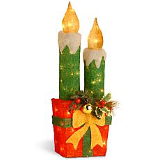 "Winter Lane 30"" Red Sisal Gift with 2 Green Candles"