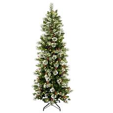 Winter Lane 7-1/2' Wintry Pine Slim Tree w/Lights