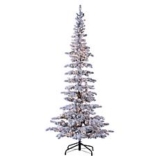 Winter Lane 7.5' Lighted Narrow Flocked Austin Pine Tree