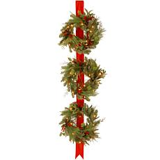 "Winter Lane 77""Decorative Coll. Triple Wreath w/Lights"