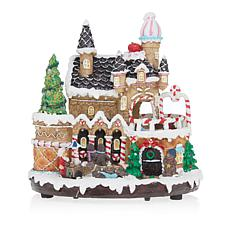 "Winter Lane 9"" Lit Gingerbread Turning Castle"