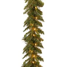 Winter Lane 9' Tiffany Fir Garland w/Lights
