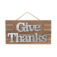 "Winter Lane ""Give Thanks"" Wood and Metal Wall Hanging Sign"