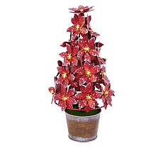 Winter Lane Lighted Potted Metal Poinsettia