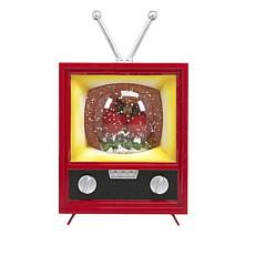 Winter Lane Musical Spinning Glitter Antique TV - Cardinal