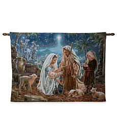 Winter Lane Nativity Fiber-Optic Christmas Tapestry