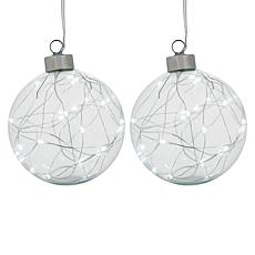 Winter Lane Set of 2 Glass Warm White LED Ornaments