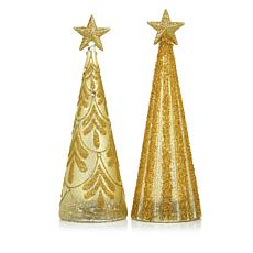 "Winter Lane Set of 2 Lit 16"" Glitter Glass  Trees"