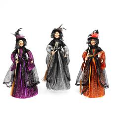 Winter Lane Set of 3 Fabric Standing Witch Figures with Brooms