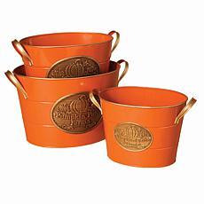 Winter Lane Set of 3 Nested Orange Metal Buckets
