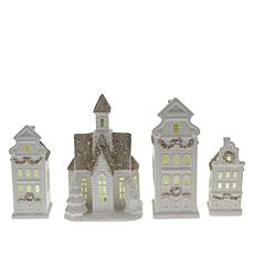 Winter Lane Set of 4 Ceramic Holiday Houses