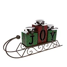 Winter Lane Sleigh Candleholder - Joy