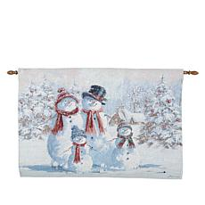 Winter Lane Snowman Family Fiber-Optic Holiday Tapestry