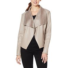 With the Girls by ALF Faux Leather Draped Jacket