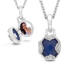 "With You Lockets™ Sterling Silver ""Gia"" Lapis and White Topaz Locket"