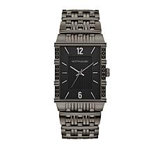 Wittnauer Men's .10ctw Black Diamond Gunmetaltone Rectangular Watch