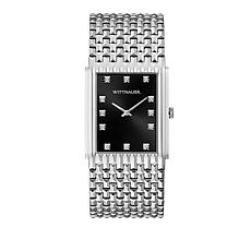 Wittnauer Men's Diamond Silvertone Black Rectangular Dial Watch