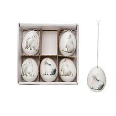Woodland Rabbit Eggs Gift Box Set of 6 Ornament