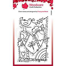 """Woodware Clear Singles 4"""" x 6"""" Stamp - Rainbow Heart"""
