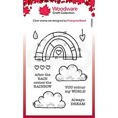 """Woodware Clear Singles 4"""" x 6"""" Stamp - Rainbow World"""