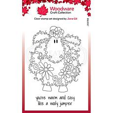 """Woodware Clear Singles Fuzzy Friends 4"""" x 6"""" Stamp - Baalamb"""