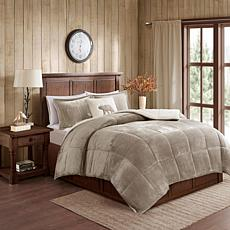 Woolrich Alton 4-pc Taupe/Ivory Plush Sherpa Full/Queen Comforter Set